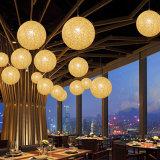 Natürliches Kugel-Farbton-Rattan-hängende Lampe des Rattan-E27