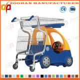 スーパーマーケットのおもちゃ車(Zht51)が付いているプラスチックショッピングトロリー