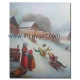 Pintura a óleo artesanais de esqui no Inverno para a decoração da casa