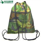 600d personalizada Bolsa de deporte escolar cordón camuflaje Bolsa mochila