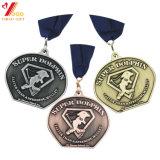 Qualitäts-antike Messingandenken-Medaille mit Farbband (YB-m-027)