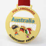 Médaille femelle artistique de médaillon de souvenir de récompense de sport d'or de gymnastique des Etats-Unis de coutume promotionnelle en gros de cadeau avec des bandes de collet