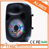 "Amaz 8 "" 무선 마이크 원격 제어 FM SD USB 포트를 가진 휴대용 트롤리 스피커 Bluetooth 다채로운 빛"