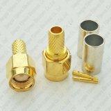 Conetor reto do RF do plugue masculino do friso de SMA para o cabo coaxial de Rg58 LMR195 Rg412 Rg400 3D-Fb