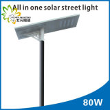 80W a intégré tous dans un réverbère solaire, éclairage LED d'énergie solaire