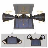 da parede principal dupla Rotatable do projector do diodo emissor de luz do sensor de movimento da potência solar do diodo emissor de luz 3W 12 luz ao ar livre