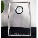 Cubo de vidro cristal relógio para a decoração da Mesa de escritório