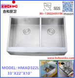 Tablier carré avant en acier inoxydable Doube Handmade lavabo