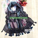 Национальном стиле напечатано вискоза шарфом женщин шаль с Tassel моды