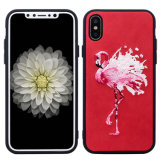 Caixa luxuosa do telefone do bordado do teste padrão do flamingo para o iPhone 6/7/X/8/8plus