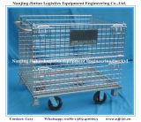 Recipiente de armazenamento Foldable do engranzamento de fio do metal com rodízios