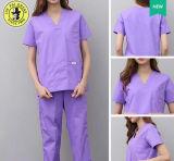 Dos estudantes finos brancos uniformes da prática da roupa do doutor trabalho das farmácias da medicamentação da luva do Short do revestimento da enfermeira roupa experimental