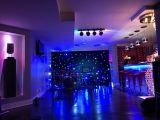 Синий светодиодный индикатор черного бархата LED Star шторки для свадьбы