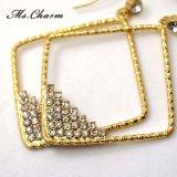 Orecchini di goccia di cristallo degli orecchini lunghi quadrati di Oro-Colore per le donne