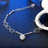 Hete Verkoop Europa 925 de Echte Link van de Tegenhanger van de Armband van het Staal met Zilveren Juwelen van het Kristal van de Ketting de Mooie