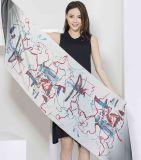 100%Digital gedruckter Silk Satin-Schal für Dame