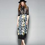 Pregas Impresso Floral brilhante Senhoras vestido com botão de &Bowknot &Vestuário