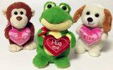 ピンクの中心の接吻のかわいく永続的なプラシ天柔らかい犬動物のおもちゃ