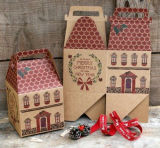 Рождество House-Shape Подарочная упаковка / Die-Cut крафт-бумаги .