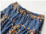 일본 면 소녀 옷을%s Falbala를 가진 꽃 패턴 치마