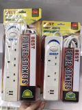 Enchufe eléctrico de la versión de la extensión de la potencia del socket BRITÁNICO del USB