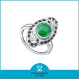 Comercio al por mayor aguamarina anillo plata para dama (R-0249)