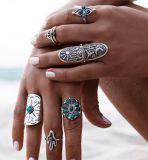 Juwelen van de Ring van de Pijl van de Wind van Bohemen de Blauwe Turkooise Retro Open Delta