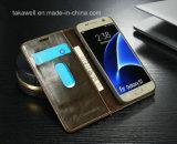 A melhor caixa de couro de venda do plutônio da aleta 2016 para o caso da tampa do telefone de pilha da galáxia S6 de Samsung