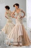 Мантия выпускного вечера Шампань одевает платье венчания W2014 Дубай длинних втулок арабское реальное