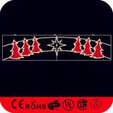 LEIDEN die Motief voor de Decoratie van de Straat van Kerstmis wordt aangestoken