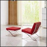 Salon en cuir de loisirs moderne Barcelone fauteuil avec pouf (SP-HC080)