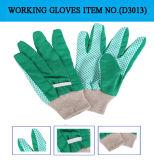 De rubber Palm van Punten met de Katoenen van de Boor Werkende Handschoenen van de Stof (D3011)