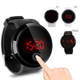 형식 Mens는 디지털 LED 접촉 스크린 날짜 실리콘 스포츠 손목 시계를 방수 처리한다
