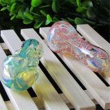 Tubo de vidro com listra coloridas do tubo de água de vidro vidro tabaco tubo tubo colher de vidro