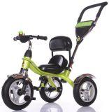 A criança do bebê das crianças do modelo novo caçoa o triciclo com Ce