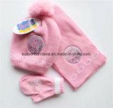 中国の工場OEMの農産物はロゴのセットされたアクリルの編まれたジャカード帽子のスカーフの手袋をカスタマイズした