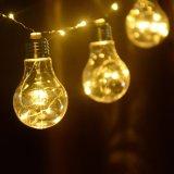 3 luzes desobstruídas a pilhas da corda do cobre do bulbo do diodo emissor de luz do AA, 10FT 10 bulbos aquecem a luz de suspensão do fio branco do diodo emissor de luz do globo para o banquete de casamento de Halloween do Natal