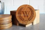 Conjunto de bambú redondo del práctico de costa de la bebida de la insignia de encargo de 4 pedazos