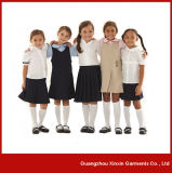 Camisas e saias feitas sob encomenda da farda da escola do algodão do OEM para as meninas dos estudantes (U1)