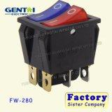 Interruptor de eje de balancín iluminado Pin de Leci RS606 6 250V T85