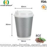 8 oz de papel ondulado rizado Beber caliente Taza, vaso de papel con tapa