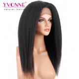 Yvonne 100% Brasileña Cabello recto rizado peluca delantera de encaje