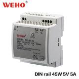 Alimentation CC Du bloc d'alimentation 45W 5V 5A de commutation de longeron DIN commutant 45 watts