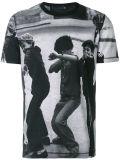 T-shirt gris d'impression de sublimation de noir fait sur commande de Mens