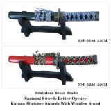 Carta de samurais japoneses do abridor Katana Espadas Artesanato Jot-115