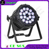 PAR64 18X18W LED 가벼운 RGBWA UV 6in1 DMX512 LED 동위