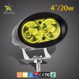白く青く黄色いアルミニウムハウジング4inch LED作業ライト30000時間の20W 5D