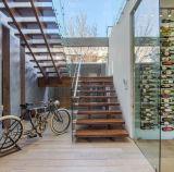 Escalera de madera del vidrio de la escalera de la escalera del pasamano de cristal de acero prefabricado de los largueros