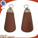 Calzatoio poco costoso Keychain del corno su ordinazione promozionale del pattino di cuoio