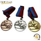 Medaglia corrente di sport del metallo del premio di abitudine 3D della concorrenza con il nastro (M010)